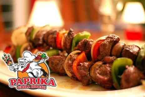 Paprika Grill House - Three Course Mediterranean Meal For Two With Side Dish, Dessert and Cappuccino - Save 60%