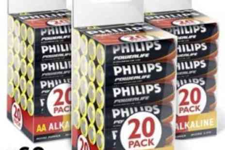 Philips - Powerlife Alkaline AA Batteries - Pack of 60 - Save 60%