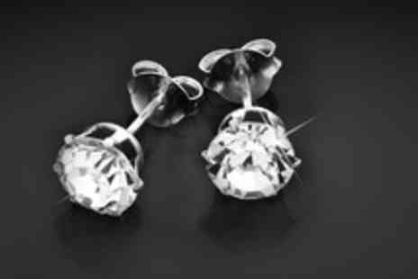 Oodlebee - Pair of Swarovski crystal and sterling silver studs - Save 73%