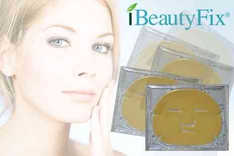 iBeautyFix - Five Luxurious 24k Gold Collagen Face Masks - Save 77%