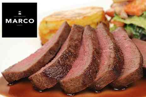MARCO - Two Courses Including 10oz Ribeye Steak and Wine Each For Two - Save 51%