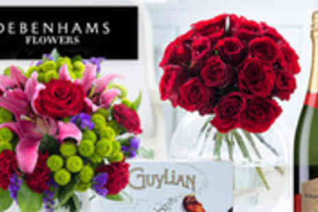 Debenhams Flowers - Valentines Day bouquet gift sets with chocolates and bubbly - Save 51%