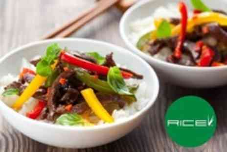 Rice Flame Bar and Grill - Global Cuisine Starter and Main Plus Wine For Two - Save 45%