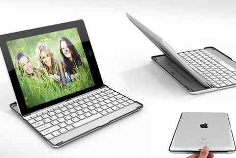 My Touch Screen - An iPad 2 or 3 Aluminimum Case including a White Bluetooth Wireless Keyboard. - Save 76%