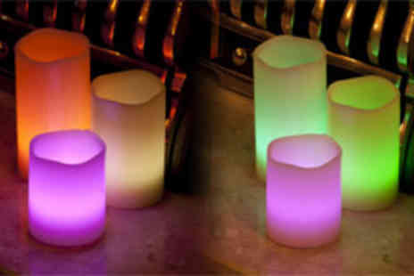 Festive Lights - £14.99 instead of £29.99 for set of three remote controlled colour-changing candles - Save 50%