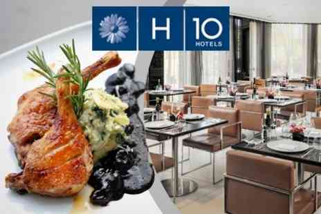H10 London Waterloo - Three Course Mediterranean Meal For Two With Champagne Cocktails - Save 64%
