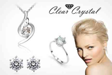 Clear Crystal - 18 Carat White Gold Plated Jewellery Set With SWAROVSKI ELEMENTS - Save 85%