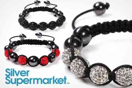 Silver Supermarket - Shamballa Style Bracelets Pack of Three In Choice of Colours - Save 89%