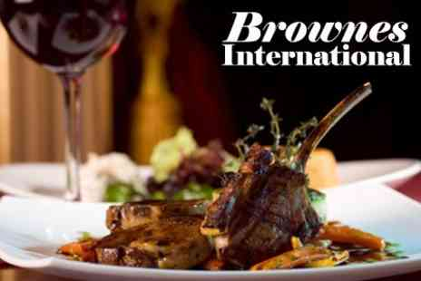 Brownes International - Four Course Meal With Sparkling Wine For Two - Save 52%