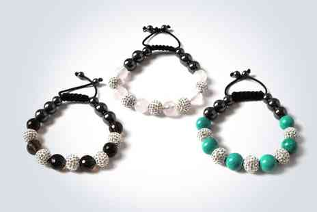 Love Crystal - Semi precious smokey quartz and preciosa silver and black crystal ball bracelet - Save 50%