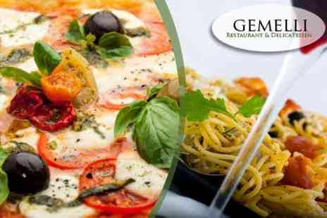 Gemelli Restaurant & Delicatessen - Pizza or Pasta With Wine For Two - Save 52%