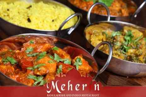 Meherin - Two Course Indian Meal For Two With Rice Plus Poppadoms - Save 63%