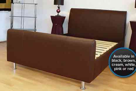 4 Home Beds - Double Marlin PU leather bed available in a choice of five colours - Save 70%