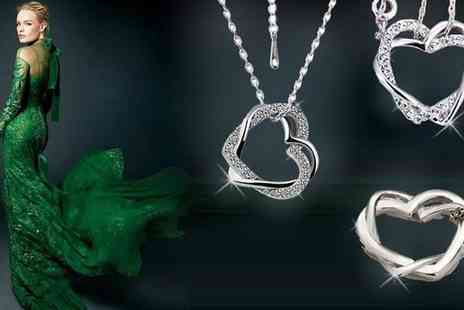 Hulbury - Swarovski Element Double Heart Pendant & Crystal Studs - Save 87%