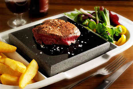 Steakhouse - Hot stone steak meal inc chips salad & a glass of wine - Save 53%