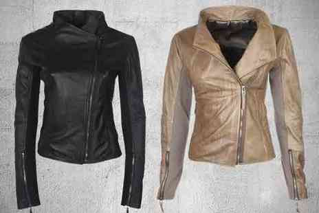 Boda Skins - A stretch panel, leather biker jacket in a choice of 2 colours - Save 51%