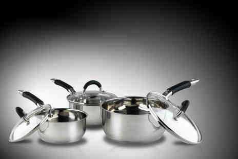 Your Spares - Three piece Russell Hobbs stainless steel saucepan set - Save 44%
