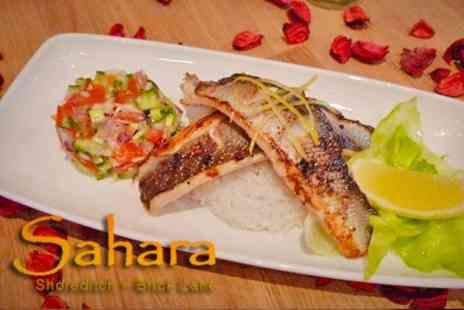 Sahara - Moroccan Cuisine Starter With Main Course and Wine For Two - Save 67%