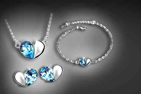 Trinkets - Blue crystal heart tri set including necklace, bracelet and earrings - Save 66%