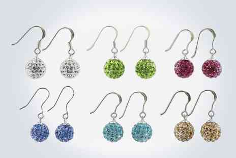 Love Crystal - Dazzling pair of 10mm crystal drop earrings set in sterling silver - Save 50%