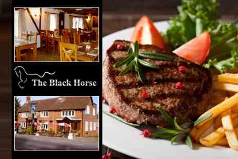 The Black Horse - Meal For Two or Four Such as Rib Eye Steak, With Wine or Beer Each - Save 52%