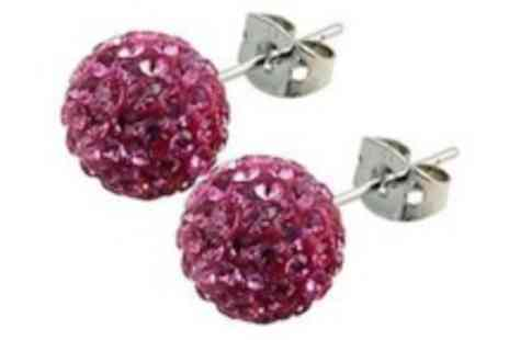 Simply Jewellery - Stud or drop down Shamballa style earrings  a celebrity favourite - Save 88%