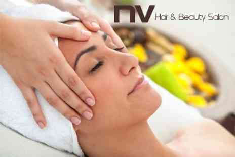 NV Hair and Beauty Salon - Three Hours Pamperin  Back, Neck and Shoulder Massage Plus Facial, Manicure and Pedicure - Save 58%