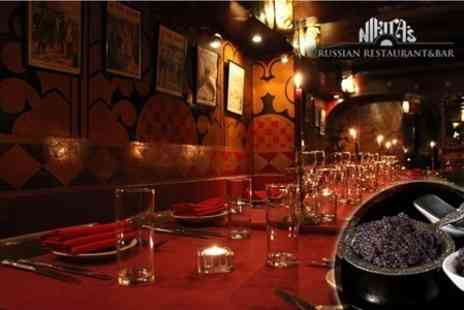 Nikitas Restaurant & Bar - Russian Cuisine Three Courses Including Caviar and Vodka For Two - Save 59%