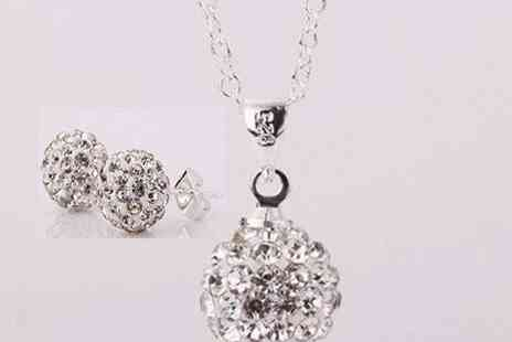 Eezee Lifestyle - Shamballa Necklace & Earrings Set - Save 83%