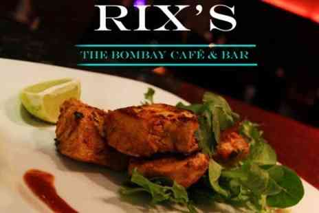 Rixs Bombay Cafe and Bar - Modern Indian Cuisine Two Courses With Rice, Naan, Poppadom and Drinks For Two - Save 63%