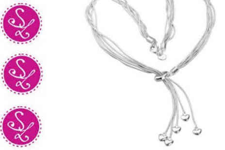 Smart Lass - 5 Strand Silver Plated Heart Necklace - Save 82%