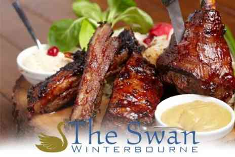 The Swan Winterbourne - Two Course Meal With Dishes Such as Full Rack of Ribs Plus Side and Wine - Save 51%