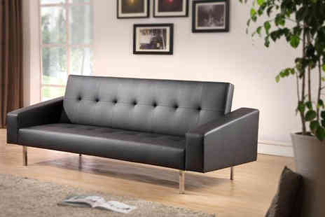 Aston Furniture - Washington faux-leather sofa bed in black or white - Save 70%