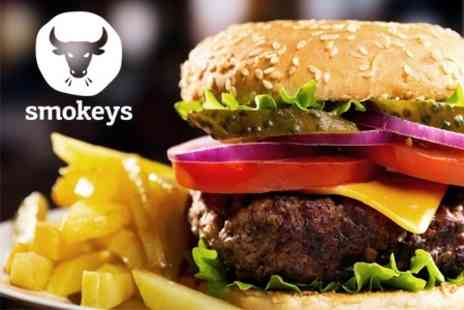 Smokeys - Burger or Hot Dog With Fries and Beer For Two People - Save 57%