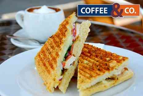 Coffee and Co - Panini or Baguette With Dessert or Hot Drink For Two - Save 60%