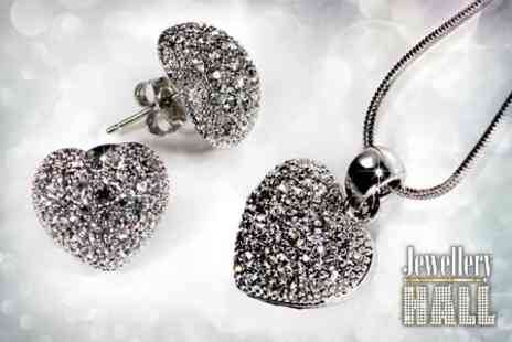 Jewellery Hall - Heart Necklace and Earrings With SWAROVSKI ELEMENTS - Save 78%