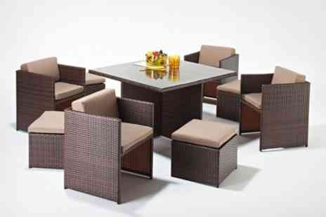 P8SH.co.uk - Rattan Garden Furniture Stacking, Corner Sofa, Nine-Piece Cube or Six-Seater Dining Set With Free Delivery - Save 77%