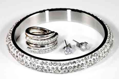Jewellery Hall - Bangle, Interlocking Ring, and Earring Set Made With Swaroswki elements - Save 58%
