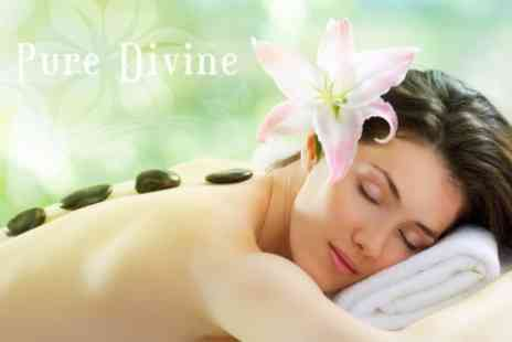 Pure Divine - Hot Stone Massage and 30 Minute Facial - Save 50%