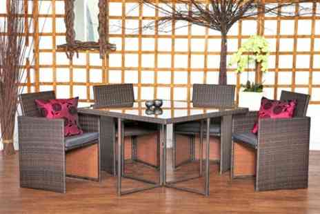 Garden Living Room - Cube Rattan Dining Set in Black or Brown - Save 63%