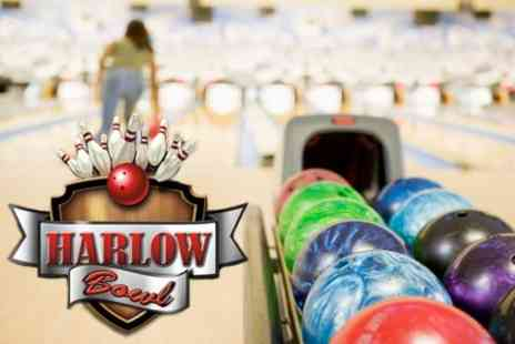 Harlow Bowl - Tenpin Bowling Two Games For Up to Six With Soft Drink Each - Save 80%