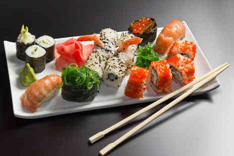 UmeZushi - 24 piece sushi lunch for 2 including a sharing flask of warm sake or beer each - Save 44%
