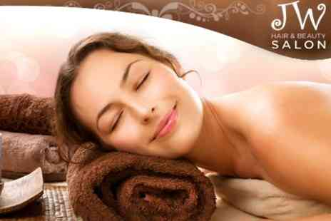 JW Hair and Beauty - One Hour Massage and Facial Plus Infrared Sauna Session or Eyebrow Wax and Shape - Save 66%