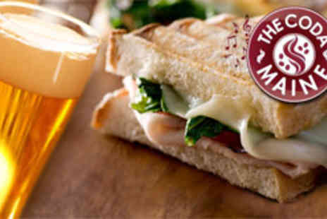 The Coda Maine - Toastie or panini for two plus a drink each - Save 53%