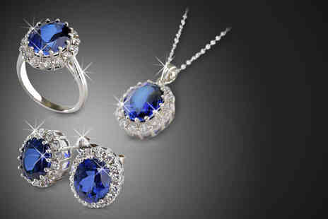 Zircontime - Pair of created sapphire earrings a necklace or a ring - Save 75%