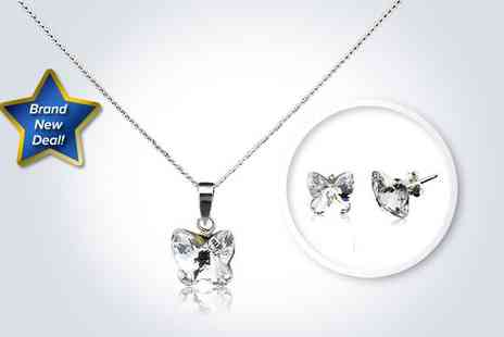 Love Crystal - Gorgeous butterfly pendant and a pair of butterfly studs made with SWAROVSKI ELEMENTS - Save 50%