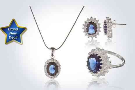 The Real Silver Company - Fabulous classic jewellery set including blue cubic crystal encrusted zirconia earrings - Save 50%