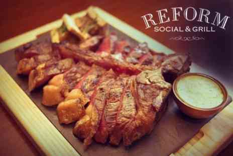 Reform Social and Grill - Two Course Steak Dinner With Bottle of Wine For Two - Save 59%