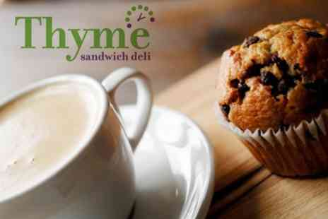 Thyme Sandwich Deli - Five Coffees Plus Cake - Save 56%