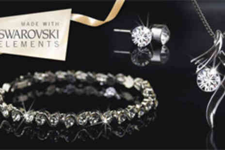 Aspire - 18ct white gold-plated jewellery set made with Swarovski Elements - Save 79%